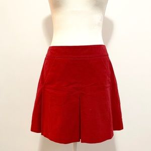Anthropologie Elevenses red velvet pleated skirt